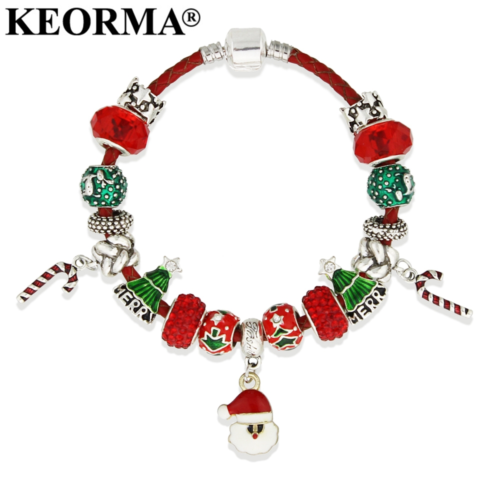 KEORMA חג המולד סנטה קלאוס חרוזים סגולה צמידים & צמידי צמידי שרשרת עור לנשים תכשיטים בעבודת יד DIY KM208