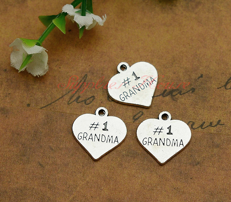 50pcslot--16x16mm, Heart Charms, Antique silver Plated Grandma heart PendantsCharms,DIY supplies, jewelry making