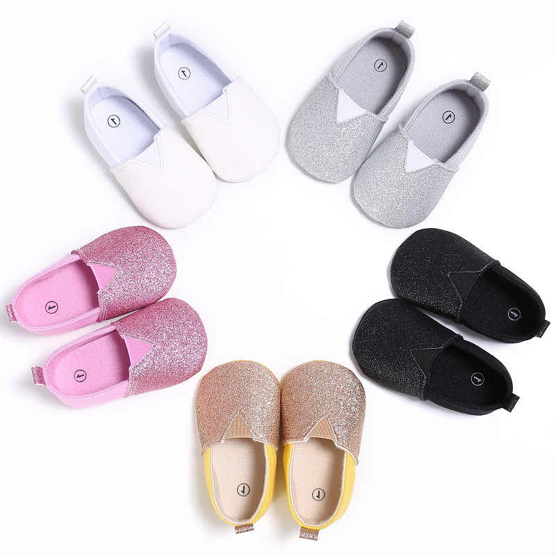 Infant Girls Bling Solid Anti-skid Causal Newborn Loafers Toddler Shoes Baby Princess Kids Spring Autumn Bow-knot First Walker