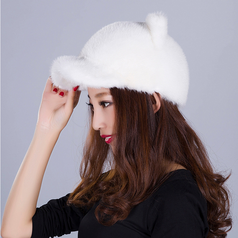 Real Fur Hat For Women Fashion Solid Mink Fur Style Fur Lovely New CZ Diamonds Style Caps Beanies Hats Russian Winter Beanies