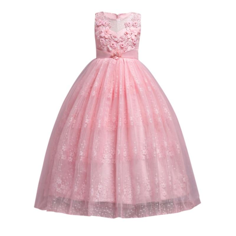 4-14T Kids Girls Wedding Lace Long Girl Dress Elegant Princess Party Pageant Formal Dress Sleeveless Teenagers Girls New