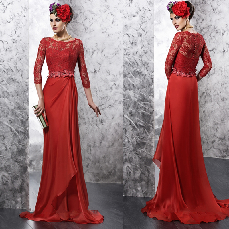 Custom Made Long Red Lace Chiffon Mother Of The Bride Dresses With Sashes Floor-Length Vestido De Festa Longo MBD137