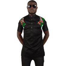 Black and print patchwork african shirt men slim fit dashiki tops customized africa style traditional clothes man tshirt