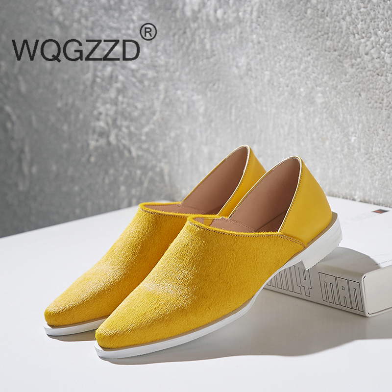 Plus size 42 brand flat shoes women loafers horsehair cow leather patchwork design square toe slip