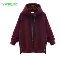 Oversized Women Hoodies Zip Sweatshirts 2018 Spring Autumn Loose Long sleeved Warm Pullover Sweatshirt Female Casual tops M 6XL