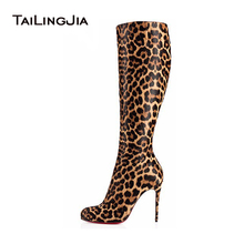 Advance Booking 2015 fashion ladies knee high boots Sexy Leopard high heel botas,black and Leopard shoes for women free shipping