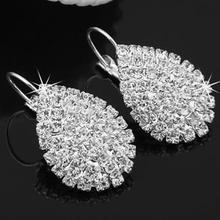 Fashion Statement 2019 Crystal Stud Earrings for Women Silver Color Rhinestone Elegant Wedding Jewelry