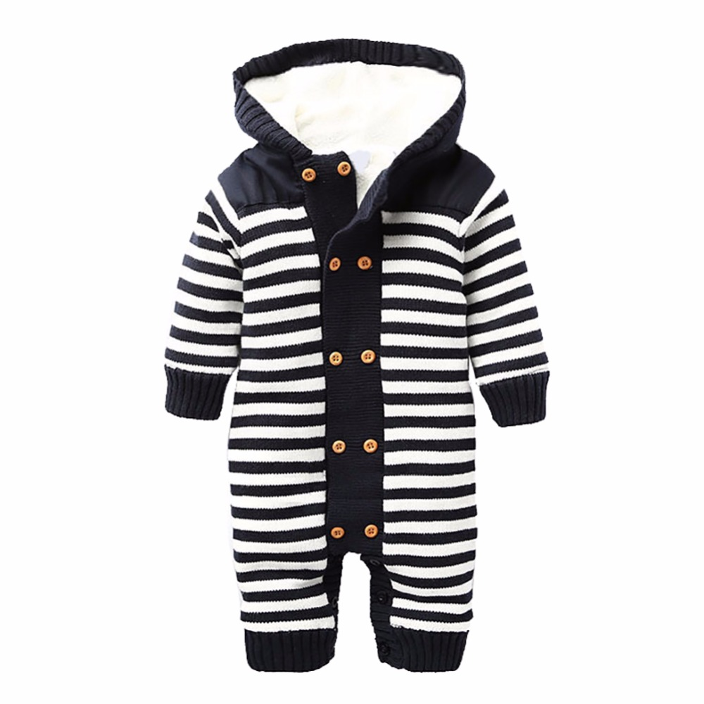 2017 New Baby Rompers Winter Thick Climbing Clothes Newborn Boys Girls Warm Romper Knitted Sweater Hooded Outwear 2017 baby jumpsuits winter overalls deer kinitted rompers climbing clothes sets for newborn boys girls costumes hooded sweater