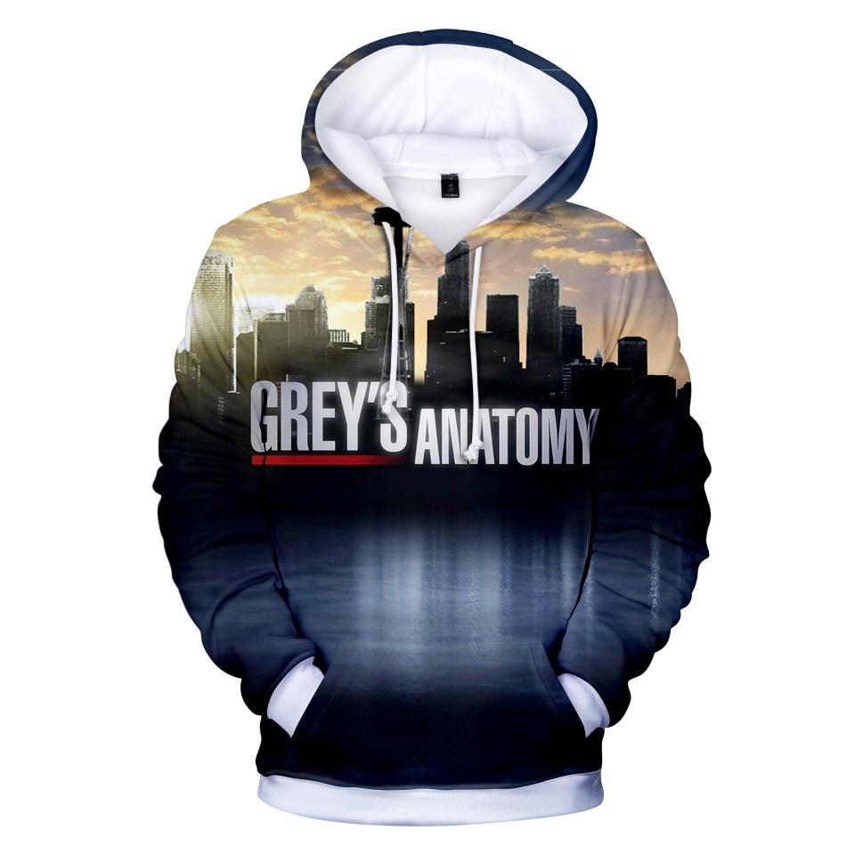 GREY'S ANATOMY 3D Hoodies Sweatshirt Unisex Tumblr Casual Pullover Jacket Coat Greys Anatomy Hoodie Fashion Plus Size Tracksuit