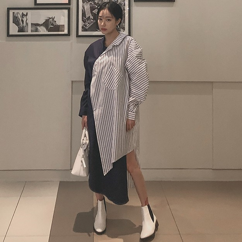 LANMREM 2019 Summer New Fashion Temperament Women Loose Plus Casual Long Section Irregular Stitching Striped Shirt TC210