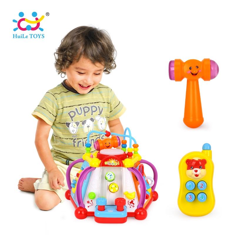 HUILE игрушки 806 детские игрушки музыкальной деятельности Cube игровой центр игрушка с 15 функций и навыки обучения Развивающие игрушки для детс...