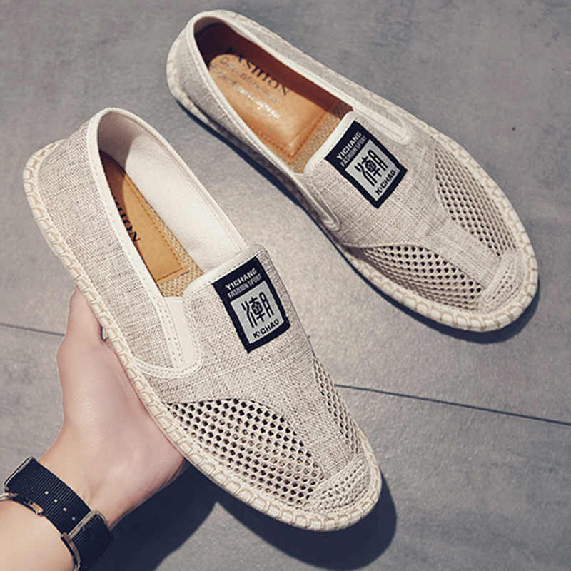2019 Summer Flat Men's Shoes Breathable Cool Mesh Fisherman Shoes Fashion Slip-on Linen Canvas Driving Shoes Man N3-80