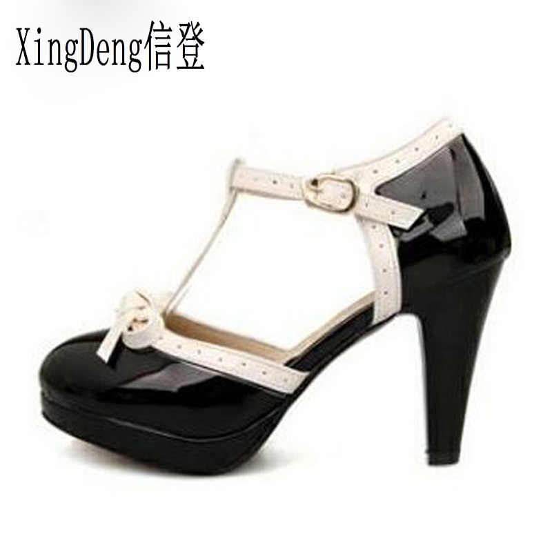 Spring T Strap Women Bowtie Shoes Fashion Pu Leather Princess Platform Pumps Ladies High Heel Lolita Shoes Size 33-48
