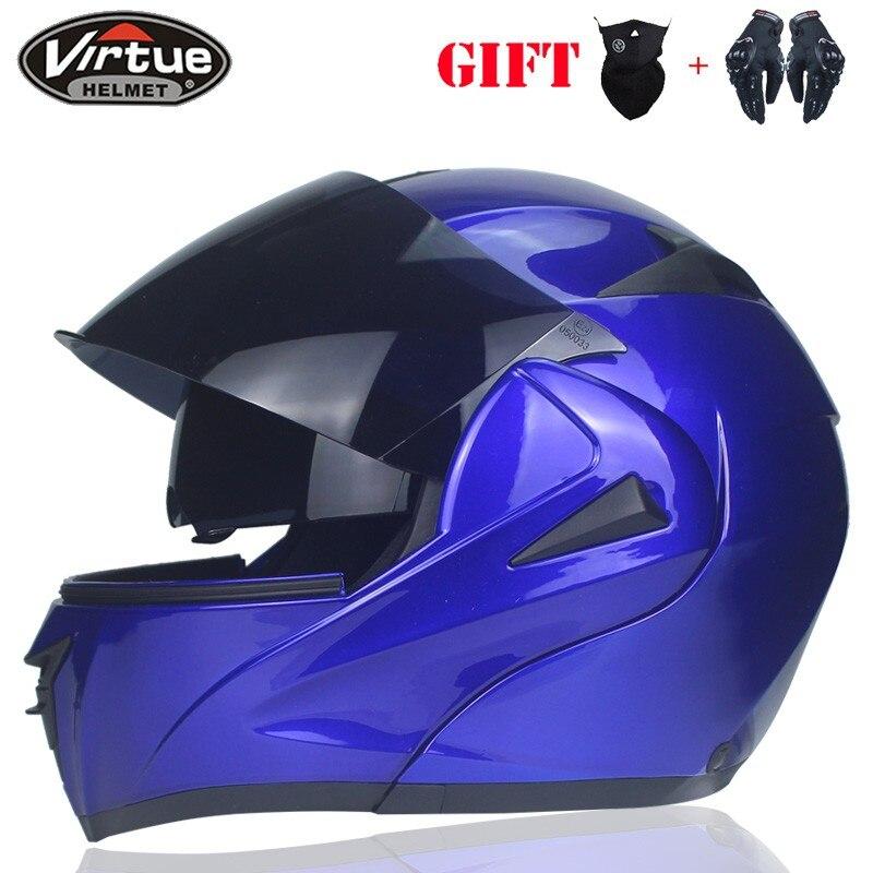 2018 VIRTUE-808 Flip Motorcycle Helmet Motocicleta Casco Helmet Motocross Full Face Helmet DOT Approved Dual Lens