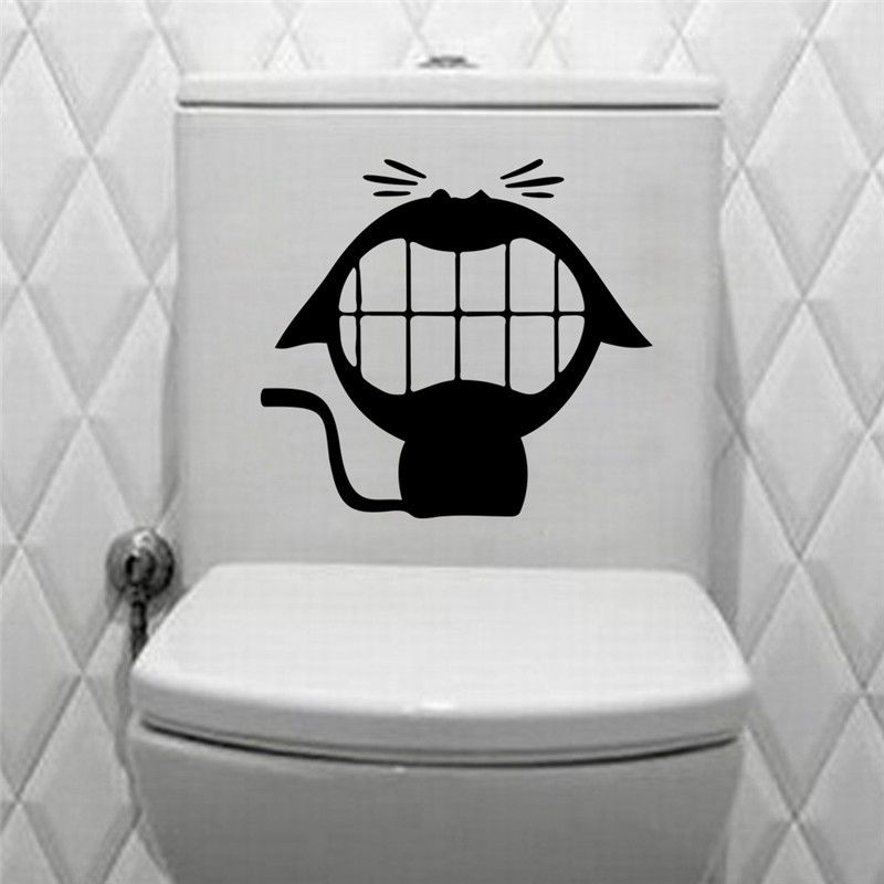 Funny Toilet Peek Sign Sticker: Big Mouth Smile Cat Silhouette Toilet Stickers Vinyl Home