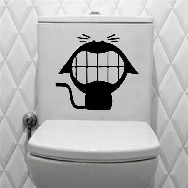 Mouth Smile Cat Silhouette Toilet Stickers Vinyl Home Decal Mural Cute Animal Bathroom Wall