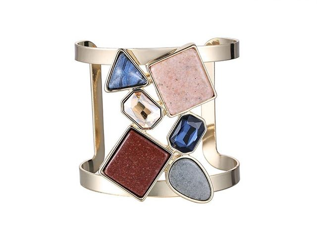 JShine Europe Personality Exaggerated Bracelets & Bangles For Women Statement Stone Mosaic Punk Trendy Pulseira Feminina Bangle