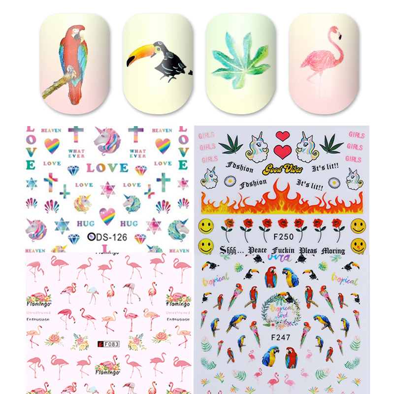 Image 4 - 1 Sheet 7.6*12.2cm Flower Series Daisy Lavender Nail Sticker Animal Series Ocean Cat Plant Transfer Sticker Manicure-in Stickers & Decals from Beauty & Health