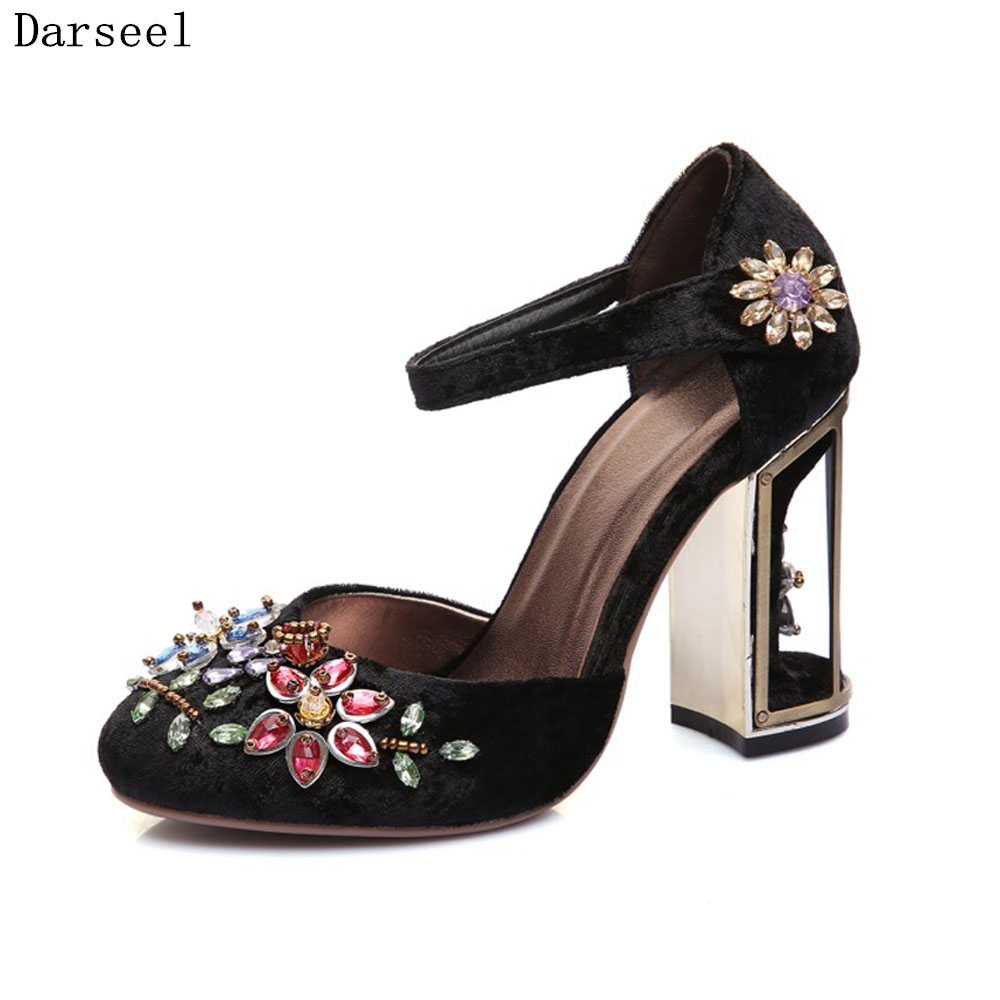 Darseel 2017 Spring Autmn Women Pumps Fashion Rhinestone Crystal Shoes High Heels Thick Heel Shoes Black Red Party Pumps Lady siketu 2017 free shipping spring and autumn women shoes fashion sex high heels shoes red wedding shoes pumps g107