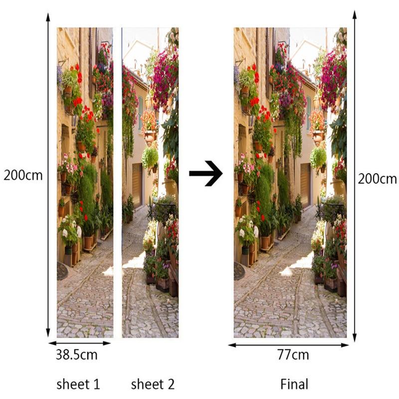 Купить с кэшбэком 3D Wallpaper PVC Self Adhesive Waterproof Photo Wall Mural Door Sticker European Street Landscape Cafe Dining Room Papel Murals