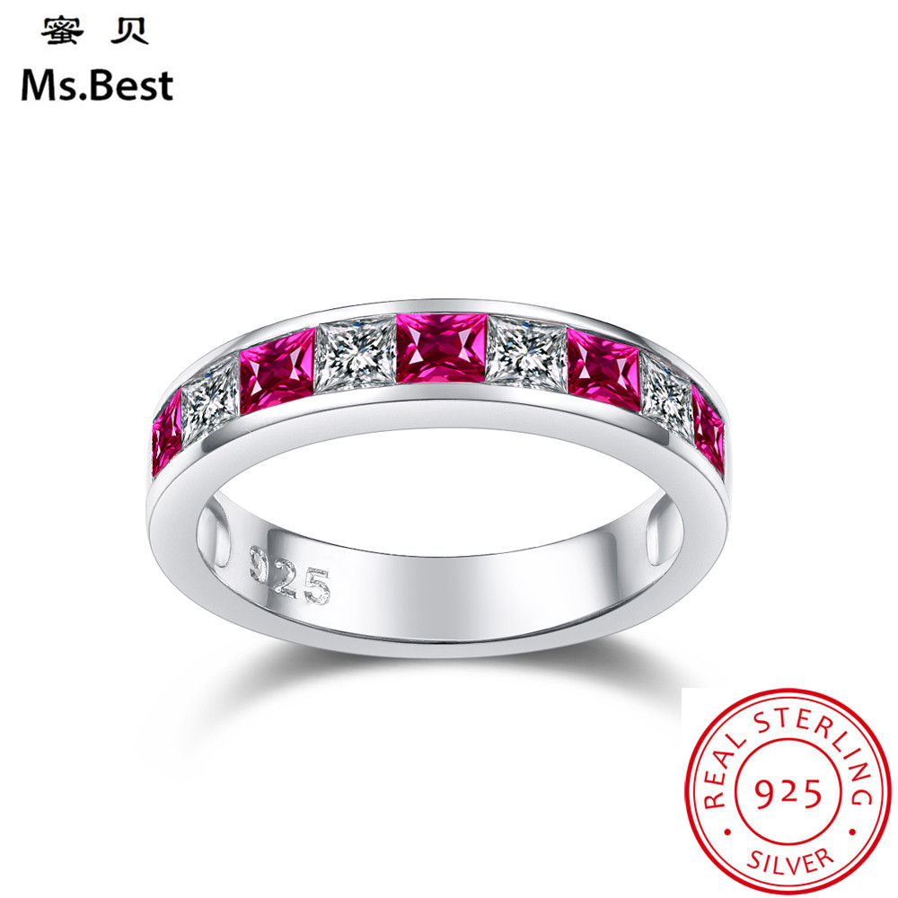 Red Ruby Ring for women Wedding Band Sterling Silver 925 fine Jewelry Color Birthstone of July Princess Cut Promise Ring Red Ruby Ring for women Wedding Band Sterling Silver 925 fine Jewelry Color Birthstone of July Princess Cut Promise Ring