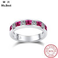 Red Ruby Ring for women Wedding Band Sterling Silver 925 fine Jewelry Color Birthstone of July Princess Cut Promise Ring