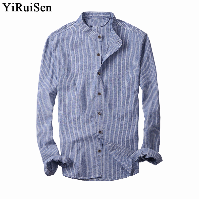 2017 New Cotton Linen Shirt Men Slim Ultra Thin Soft
