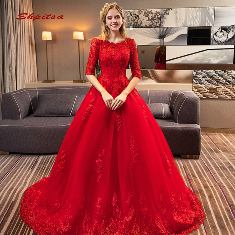 Red And White Wedding Dresses With Sleeves: Red Lace Wedding Dresses With Sleeves A Line Tulle Plus