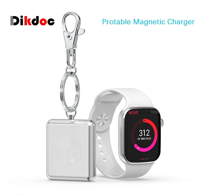 Dikdoc Key Chain Wireless Charger For Apple Watch Magnetic Fast Portable Charger For i Watch Series 1 2 3 4 Light Easy to carry