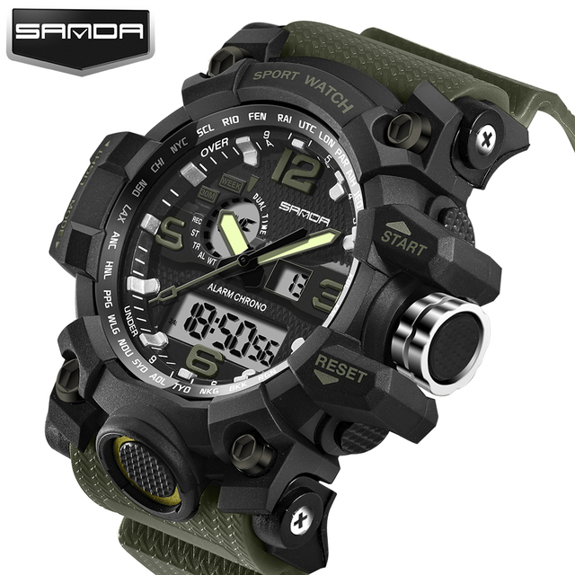 2018 New Shock Men Sports Watch Military Army Analog Digital LED Electronic Quartz Wristwatches 50M Waterproof relogio masculino