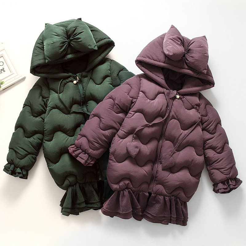 Winter Girls Outerwear Coats Long Sleeve Ruffle Bow Hooded Children Outerwear Mermaid Cotton Warm Down&Parkas for Girls 2-10Y