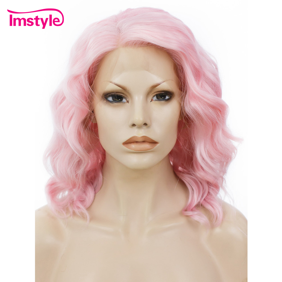 Imstyle Short Pink Synthetic Lace Front Wig Curly Wigs for Women 14 Natural Hairline Heat Resistant