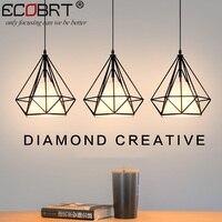 ECOBRT Czarny Przewód Wisiorek wiszące Oświetlenie Lampy Światła Krótkie Stylu Loft z gniazdem E27 kryty jadalni światła