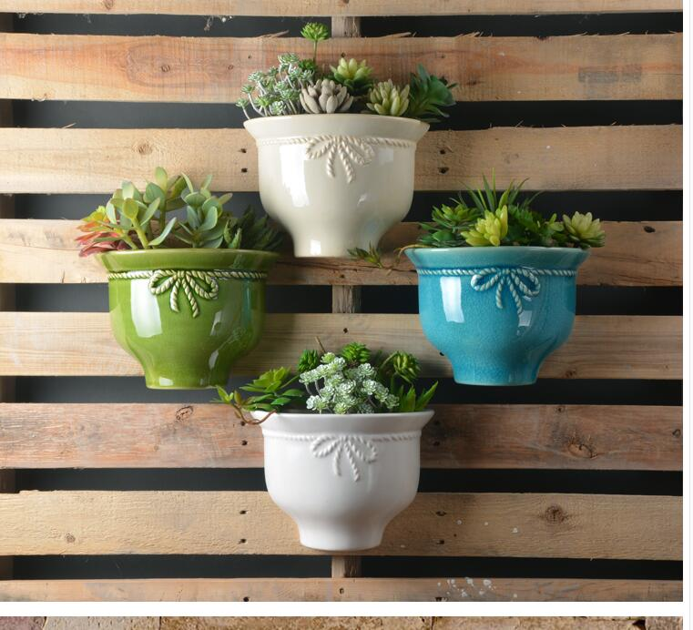 American simple garden ceramic wall hanging flower pot TV background wall decoration balcony garden succulent planting hanging p(China)