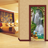 2Pcs DIY Mural Waterfall 3D Door Sticker 70X200CM Removable 3D Farmhouse Style Forest Lane Poster Door