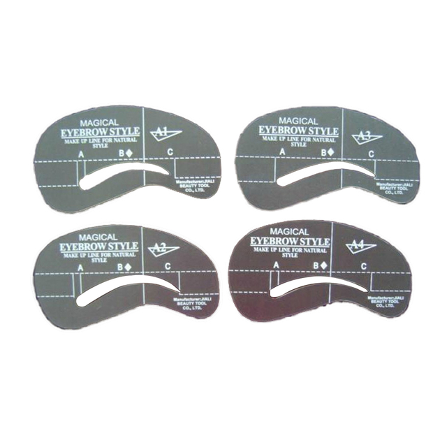 4pcs Kit Grooming Style Makeup Template Tools Eyebrow Stencil DIY Beauty Cosmetic Model Drawing Card Shaping A1-A4 4