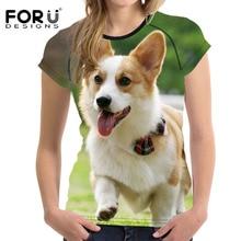 FORUDESIGNS T shirt Women in Womens t-shirt Hot Dog Humor tops & tees Lady Funny Tshirt Cute Corgi Pembroke Tops Femme Cartoon