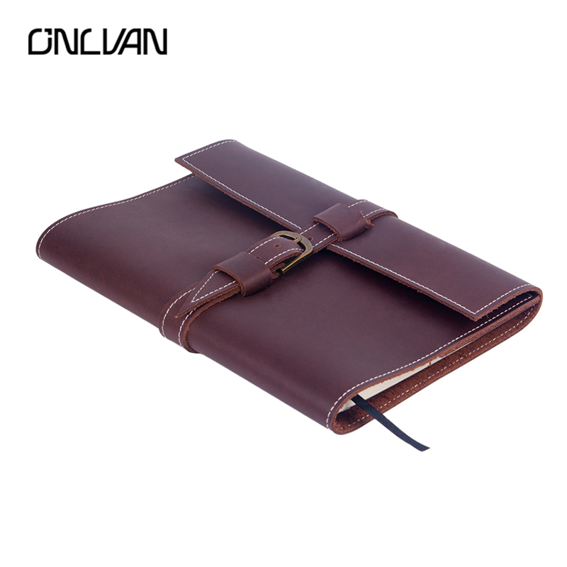 ONLVAN Genuine Leather Vintage Traveler's Notebook Journal Handmade Notebooks High Quality Calendar Planner Agenda Diary Case genuine leather notebook travelers journal agenda handmade planner notebooks diary caderno sketchbook school supplies