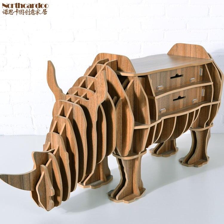 носорог стол головоломка с ящиком для