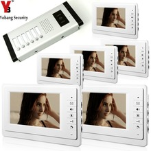 YobangSecurity 7 Inch Color HD Video Door Phone Visual Intercom Doorbell 6 Monitor 1 Camera Intercom For 6 Apartment Units .