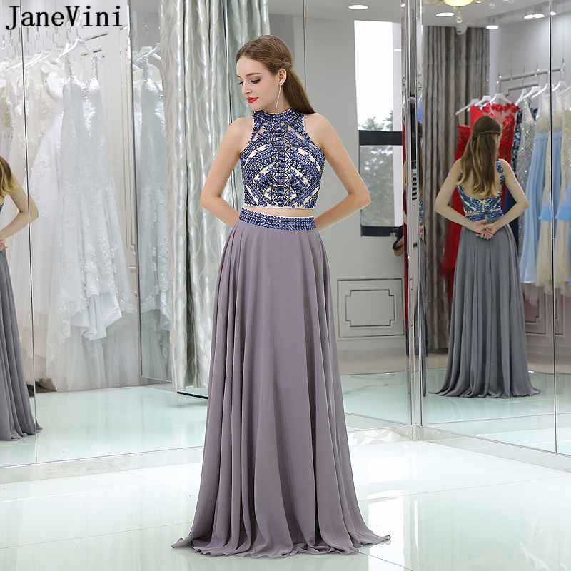 JaneVini Vintage A Line Two Piece   Bridesmaid     Dresses   Floor Length 2018 High Neck Luxury Beading Long Chiffon Prom   Dress   Backless
