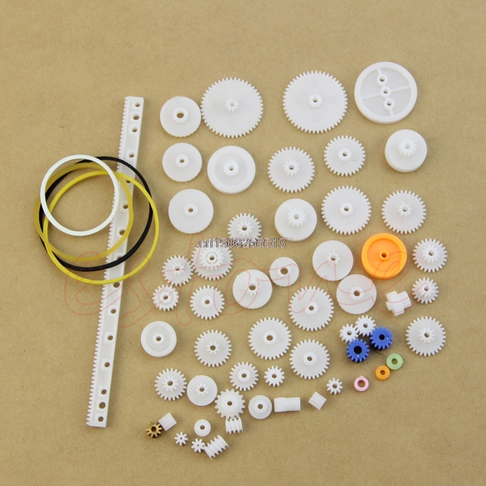 60pcs New Type Plastic Shaft Single Double Reduction Crown Worm Gears DIY Robot ...