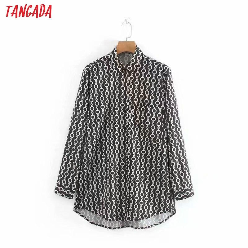 Tangada femmes chic chaîne imprimé chemise à manches longues col rabattu femme dames travail blouse élégant hauts blusas XN271