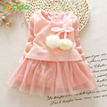 2016 Autumn Winter Baby girls clothes long sleeve princess girls dress Ball of yarn Kids Clothes Children Party princess dresses