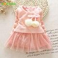 2016 otoño invierno de los bebés ropa de manga larga de princesa girls dress ovillo de lana niños ropa de niños vestidos de la princesa partido