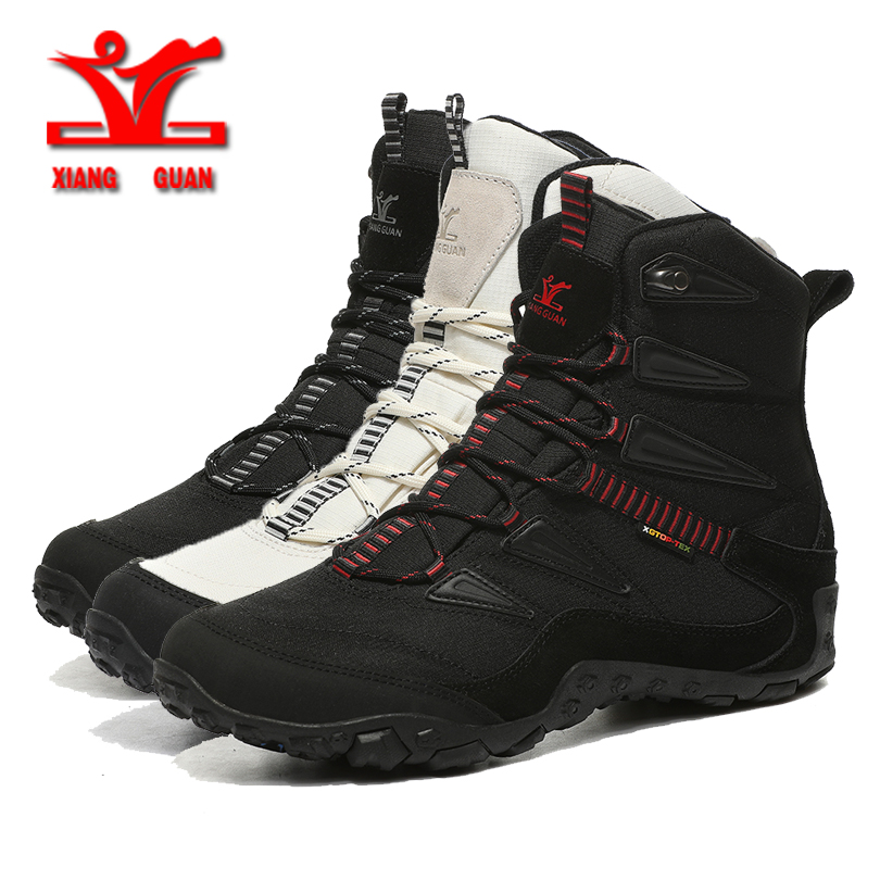 XIANGGUAN Winter Men Hiking Shoes Wool Lining Snow Boots Outdoor Hunting Boots Waterproof Mountaine Shoes Men