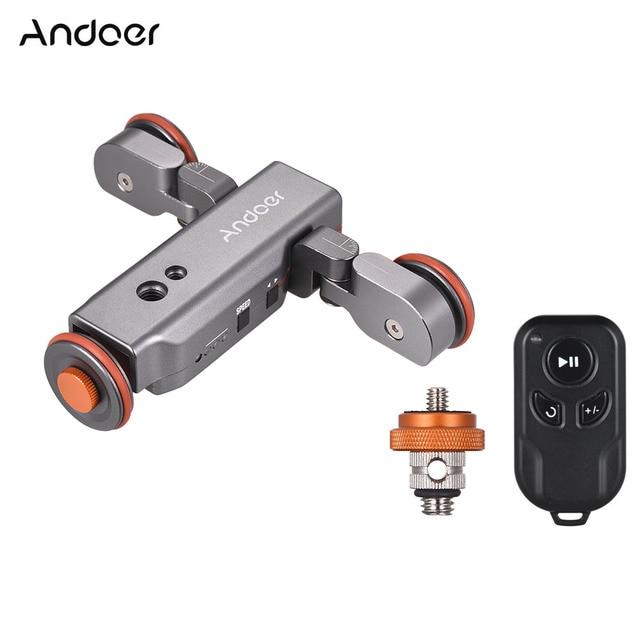 Andoer L4 PRO Motorized Camera Video Dolly Track Slider Remote Control Mini Slider Skater for Canon Nikon Sony DSLR Camera Phone