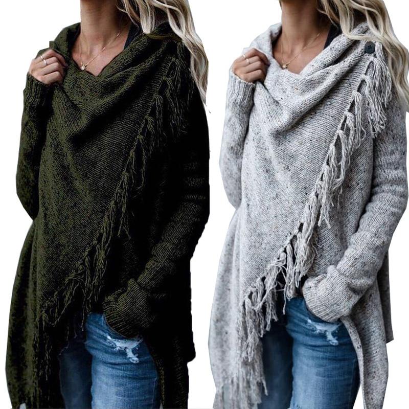 2019 autumn and spring European style knit cardigan woman sweater cute tassel irregular single button female sweater