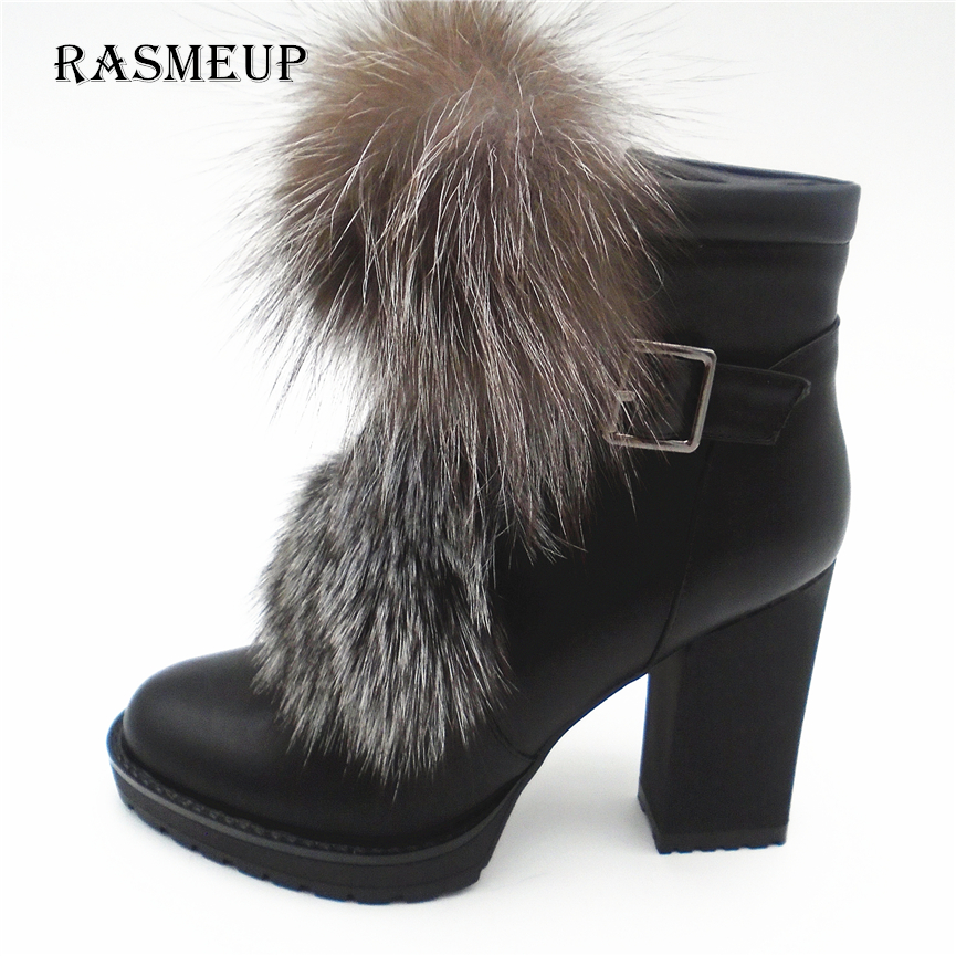 RASMEUP Fashion Women Fox Fur Buckle  Ankle Boots Autumn Winter Woman Pointed Toe High Heels Shoes Sexy Ladies Zip Snow Boots women buckle ankle boots winter fur warm high heels boots for women fashion pointed toe chunky heel boot pu leather shoes