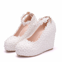 Woman Shoes White Rhinestone Pearl Round Toe Pumps Wedges Heel High Heels Wedding Shoes Elegant Party Women Shoes XY-A0309 2018 classic wedding dress shoes white pearl bride shoes party high heels 5 inches heel top grade leather pumps rhinestone
